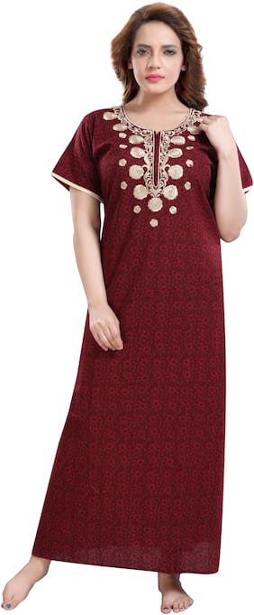 TRUNDZ Maroon Night Gown