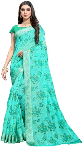 Trundz Womens Designer Cotton Blend Saree With Blouse Color Turquoise