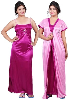 TRUNDZ Pink Nighty with Robe