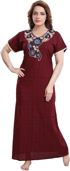 Women Embroidered Nightdress
