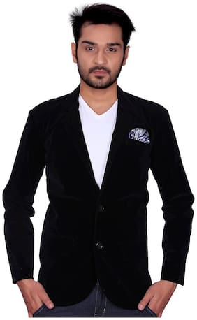 Trustedsnap Casual Velvet Party Blazer For Men's (Black)
