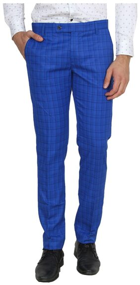 Try this dark blue chex formal trousers