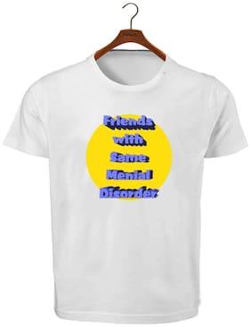 Ritzees Men Regular fit Crew neck Printed T-Shirt - White
