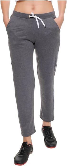 T T Women Slim fit Cotton Solid Track pants - Grey