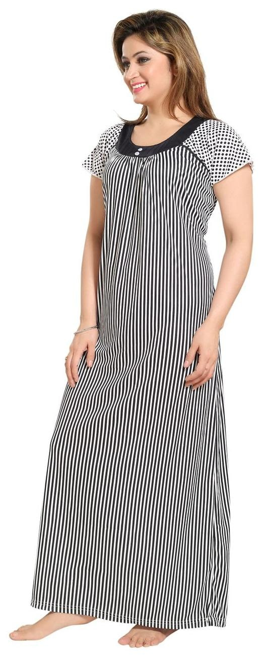 Buy Tucute Women Beautiful Line print Nighty   Night Gown   Night Dress  (Black) (Free Size) D.No.1278 Online at Low Prices in India - Paytmmall.com c258bad6f