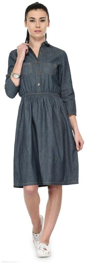 Tunic Nation Women's Blue Denim Solid Dress