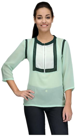ff26b4590611 Buy Tunic Nation Women Georgette Solid - Regular Top Green Online at ...