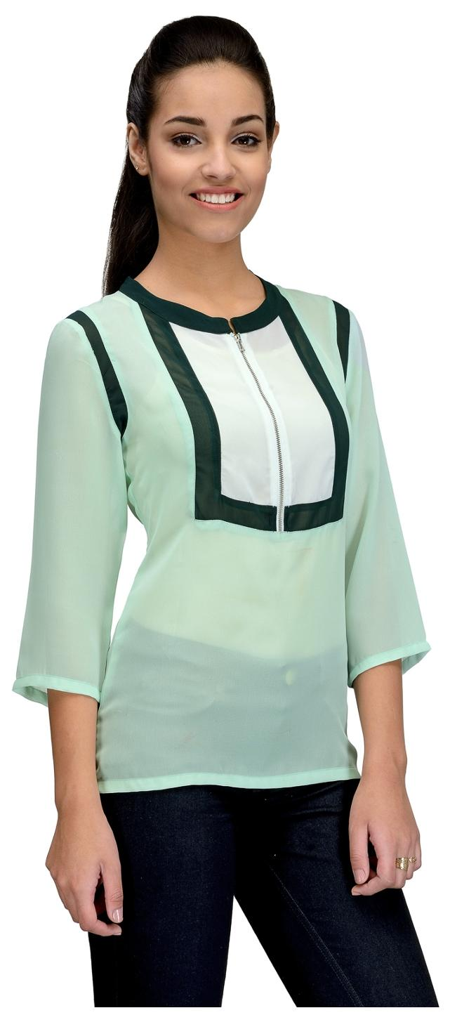 596aefe6dafb Buy Tunic Nation Women Georgette Solid - Regular Top Green Online at Low  Prices in India - Paytmmall.com