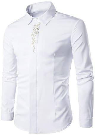 Turndown Collar Embroidered Long Sleeve Shirt