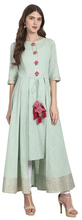 Nayo Turquoise Blue 3/4 Sleeve Cotton Low High Anarkali Kurta