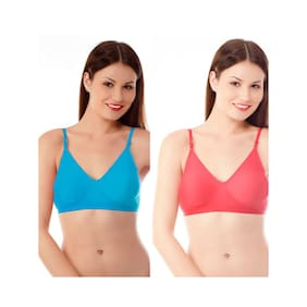 Tweens Blue And Orange Cotton Pack Of 2 Non-Padded Non-Wired Bra