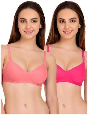 Tweens Coral Dark Pink Full Coverage Padded T-Shirt (Pack Of 2) Non-Wired Bra