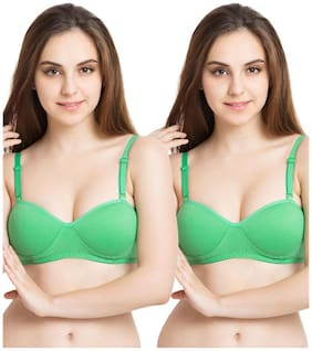 Tweens Demi Cup Green Padded T-Shirt - (Pack Of 2) Non-Wired Bra