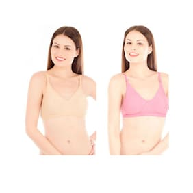 Tweens Pink And Skin Cotton Pack Of 2 Non-Padded Non-Wired Bra