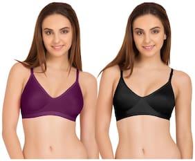Tweens Purple & Black Sleek Look Non Padded T-Shirt (Pack Of 2) Non-Wired Bra