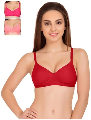 Tweens Sleek Look Red Pink & Coral Padded T-Shirt (Pack Of 3) Non-Wired Bra