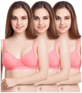 Tweens Sleek Look Coral Padded T-Shirt - (Pack Of 3) Non-Wired Bra