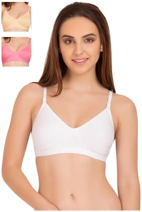 Tweens White Beige & Pink Sleek Look Non Padded T-Shirt (Pack Of 3) Non-Wired Bra