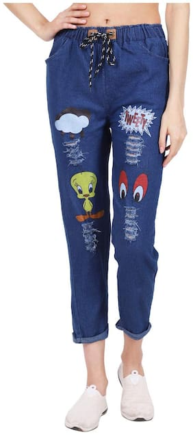 Generics Women Relaxed fit Low rise Printed Jeans & Jegging - Blue