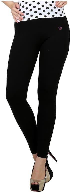 Twin Birds Black Cotton Legging