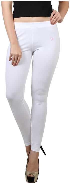 Twin Birds White Cotton Legging
