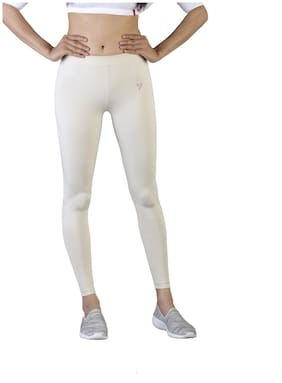 Twin Birds Cotton Leggings - Beige