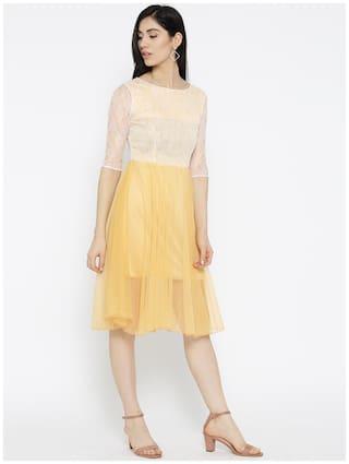Dress Design Women Fit and Self Beige Flare amp;F U SW7nPx