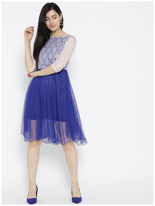 Flare Dress and Design Self amp;F Blue Women Fit U YxaT48c0ga