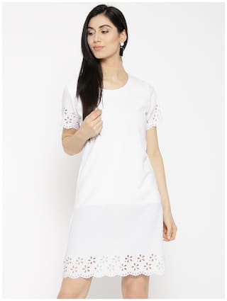 Line amp;F Solid Women U Dress White A qUwRwX1