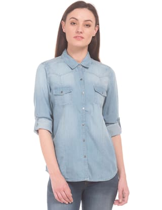 U.S. Polo Assn. Blue Cotton Washed Regular Fit Chambray Shirt