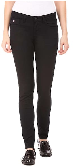 U.S. Polo Assn. Women Skinny Fit Mid Rise Solid Jeans - Black