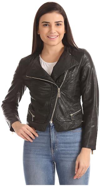 54449dae0c5c Buy U.S. Polo Assn. Women Solid Biker Jacket Jacket - Black Online ...