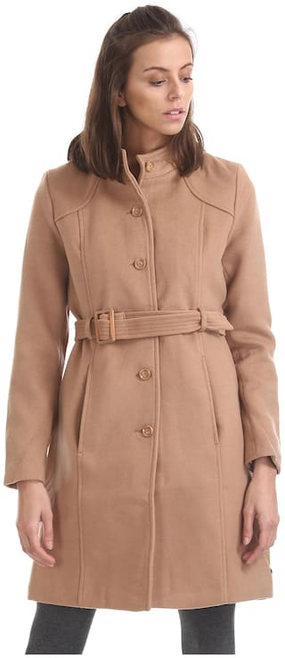 U.S. Polo Assn. Women Solid Regular Fit Coat - Brown
