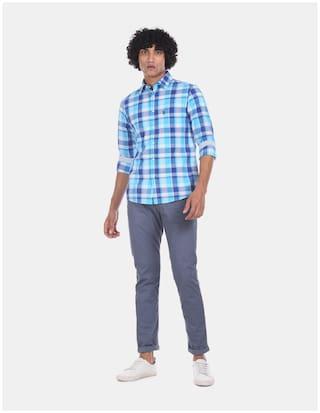 U.S. Polo Assn. Men Blue Checked Regular Fit Casual Shirt