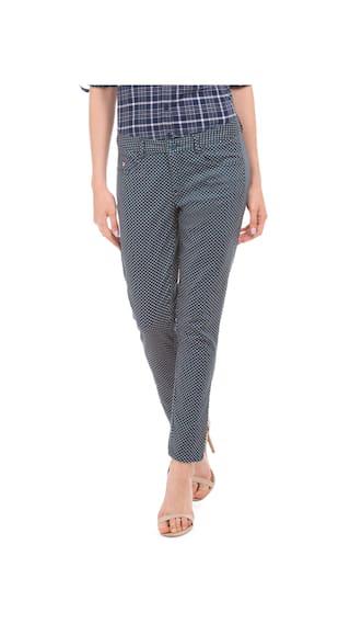 Diamond Assn Trousers Blue Fit Skinny U Women S Polo Cotton Print TAEqnYB