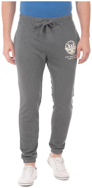 U.S. Polo Assn. Denim Co. Grey Cotton Heathered Drawstring Waist Joggers