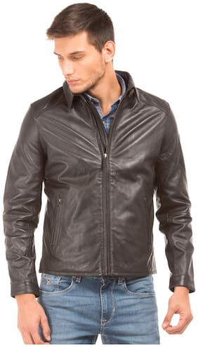 Men Leather Long Sleeves Leather Jacket