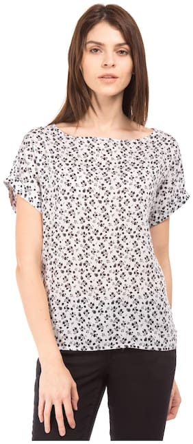 U.S. Polo Assn. Women White Modal Floral Printed Boat Neck Top