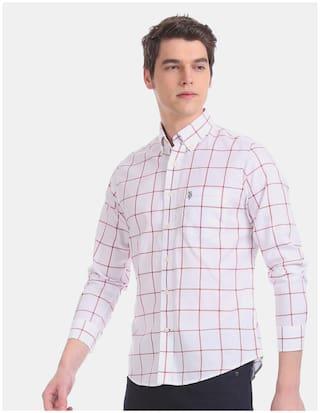 U.S. Polo Assn. Men White Checked Regular Fit Casual Shirt