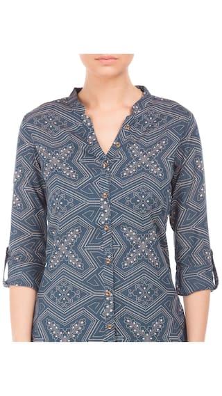 U S Cotton Shirt Polo Women Cotton Printed Blue Assn qq4rZS
