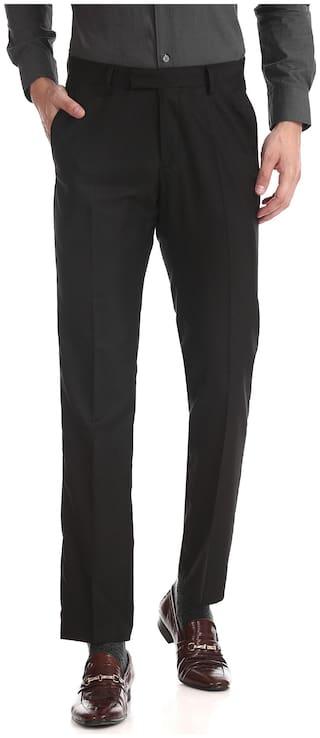 U.S. Polo Assn. Men Textured Regular Fit Formal Trouser - Black