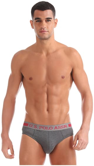 U.S. Polo Assn. Solid Briefs - Grey ,Pack Of 1