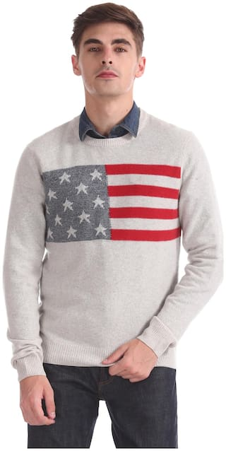 U.S. Polo Assn. Men White Round neck Pullover