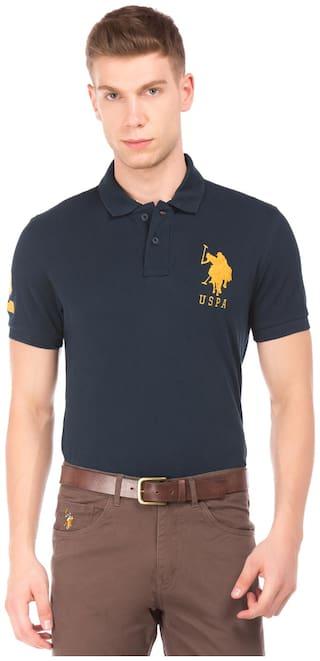 U.S. Polo Assn. Men Blue Regular fit Cotton Henley neck T-Shirt - Pack Of 1