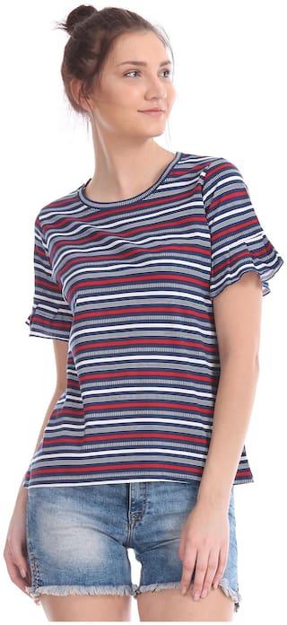 U.S. Polo Assn. Women Striped Regular top - Blue
