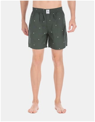 U.S. Polo Assn. Printed Boxers - Green ,Pack Of 1