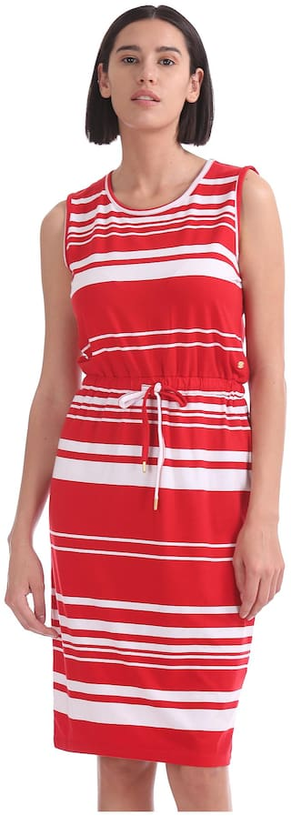 U.S. Polo Assn. Red Striped Fit & flare dress