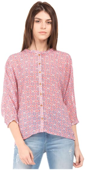 U.S. Polo Assn. Women Cotton Printed - A-line Top Pink