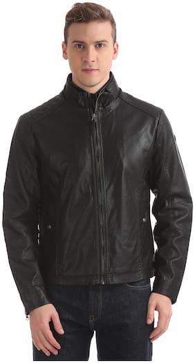 Men Cotton Blend Long Sleeves Biker Jacket