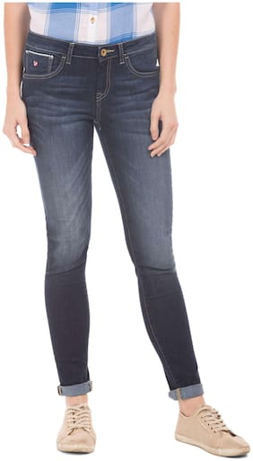 U.S. Polo Assn. Women Skinny Fit Mid Rise Solid Jeans - Blue